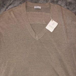 Brunello Cucinelli Beaded Linen V neck Sweater L